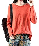 YESNO Y15 Women Casual Loose Tee T-Shirt 100% Cotton Long Sleeve Stitched