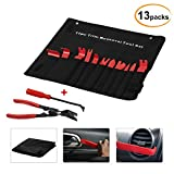 Favoto 13pcs Auto Trim Removal Tool Door Panel Premium Auto Trim Upholstery Removal Kit Fastener Remover for Door Trim Molding Dash Panel With Clip Fastener Remover Pliers.