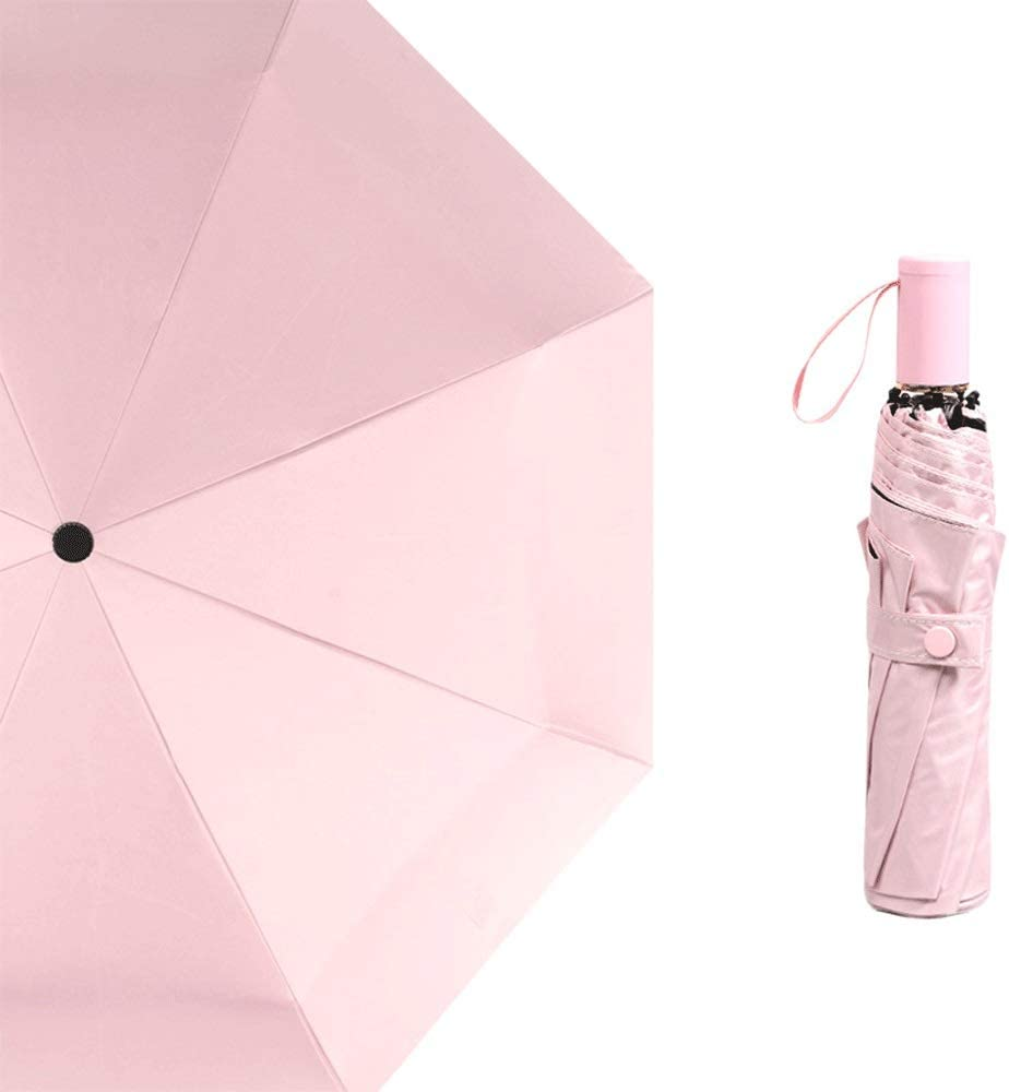 Color : Pink Portable Compact Foldable Lightweight Design and High Wind Resistance Portable Solid Color Windproof Umbrella,Vented Double Canopy Umbrella