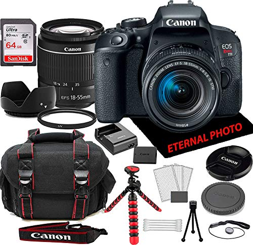 Canon EOS Rebel T7i DSLR Camera w/Canon EF-S 18-55mm Zoom Lens, 64GB Memory Card, Camera Case & Bundle