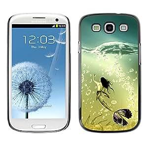 Qstar Arte & diseño plástico duro Fundas Cover Cubre Hard Case Cover para SAMSUNG Galaxy S3 III / i9300 / i747 ( Mermaid Whale Ocean Turquoise Art Bubbles)
