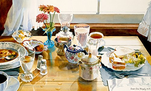 ARThouse Soup and Sandwich, Still Life of Lunch and Flowers, Watercolor Print on Paper, 14 X 21 Inches ()