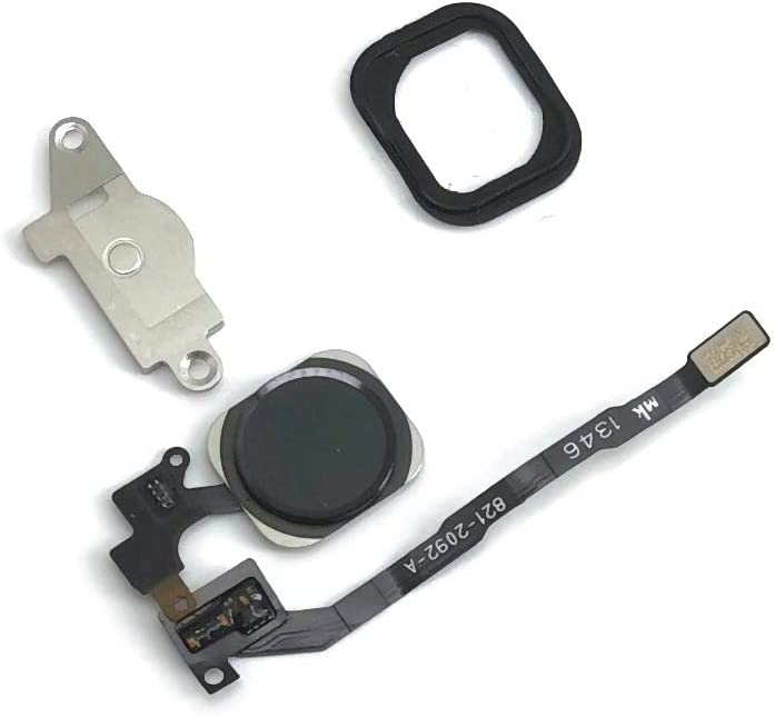E-REPAIR Home Button Key Flex Cable Metal Bracket Rubber Gasket for iPhone 5s (Black)