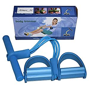 AIMMEE-JL 4-Tube Elastic Sit Up Pull Rope with Foot Pedal Abdominal Exerciser Equipment Fitness Yoga blue