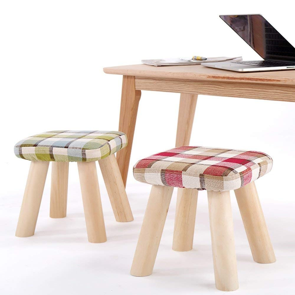 Small bluee SED Chair Home shoes Bench Stool-Stool Lattice Solid Wood Cloth Art Coffee Table Sofa Small Short Bench Footrest Footstool Living Room Bedroom Leisure Sofa Bench
