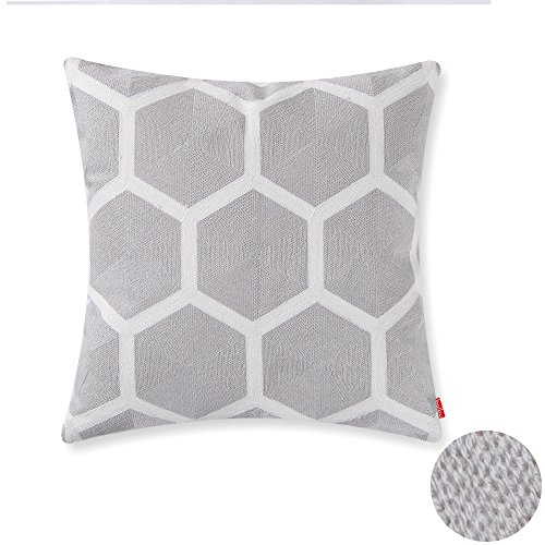 baibu Cotton Accent Decor Throw Pillow Case Embroidery Hexagon Design Cushion Cover (Hexagon Design)
