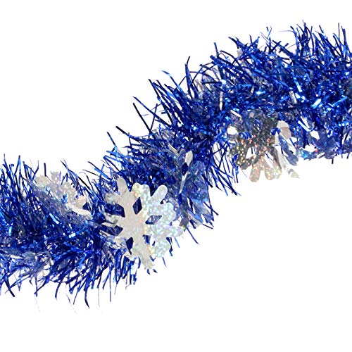 - Treasures Gifted Glitter Silver Snowflake Frosted Royal Blue Tinsel Garland Celebrate a Holiday Christmas New Years Eve Party Indoor and Outdoor Decorations