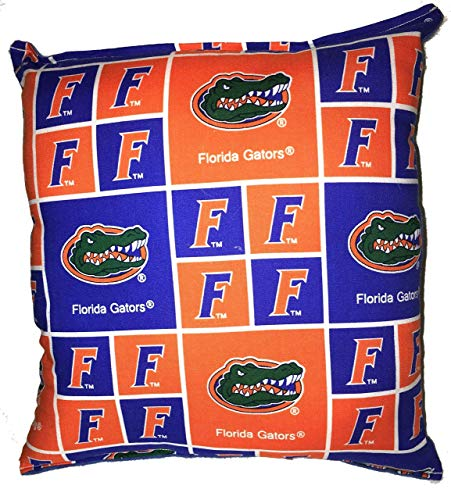 Florida Gators Pillow 10 inches by 11 inches Handmade Hypoallergenic Cotton with Flannel Backing (Gators Florida Square)