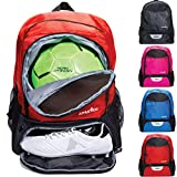 Athletico Youth Soccer Bag - Soccer Backpack & Bags for Basketball, Volleyball & Football   Includes Separate Cleat and Ball Compartment (Red)