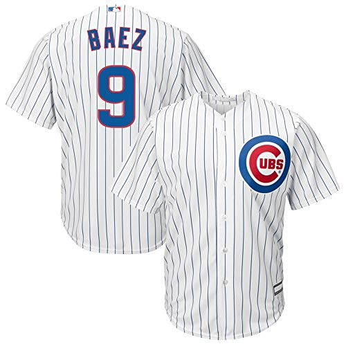 (Mitchell & Ness Javier Baez Chicago Cubs Cool Base Player Jersey #9- White )