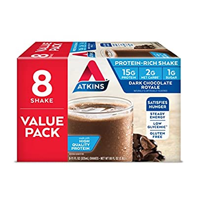 Enjoy the rich, decadent taste of Atkins Dark Chocolate Royale Protein-Rich Shakes and give your body the steady energy it needs. Packed with essential vitamins and minerals, 15 grams of protein and 1 gram of sugar per serving, our shakes keep you sa...