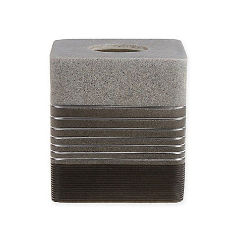 Sahara Boutique Poly-Resin Tissue Box Cover in Grey - (5.5
