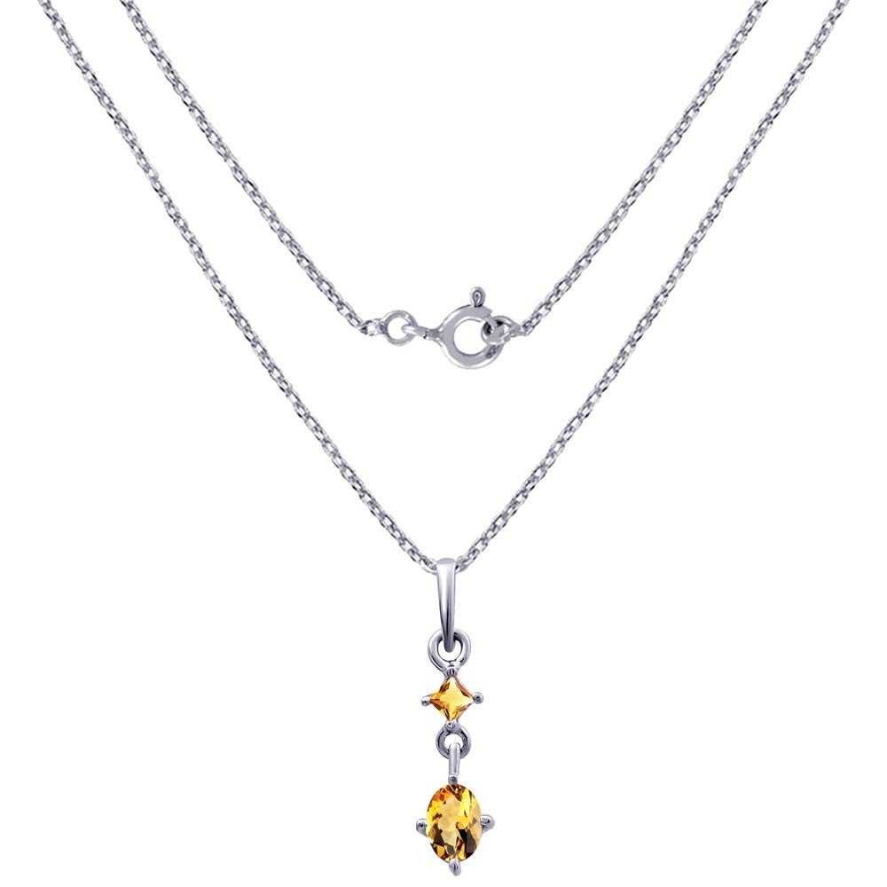 Life For Christmas A Unique Gift Idea For Wife Orchid Jewelry 0.85 Ctw Natural Oval Yellow Citrine Sterling Silver Pendant With An 18 Inch Chain Or Necklace-November Birthstone Gemstone