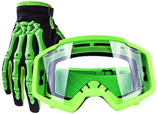 (Typhoon Youth Glove & Goggle Combo Motocross Offroad ATV MX Dirt Bike - Green - Large)