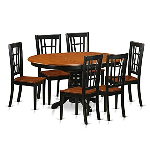 East West Furniture KENI7-BCH-W 7 Piece Small Kitchen Table and 6 Dining Room Chairs Set - Extendable Dining Table Set