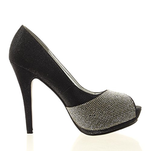 Sopily - Zapatillas de Moda Tacón escarpín Tobillo mujer strass brillante Talón Tacón de aguja alto 12 CM - plantilla sintético - Negro