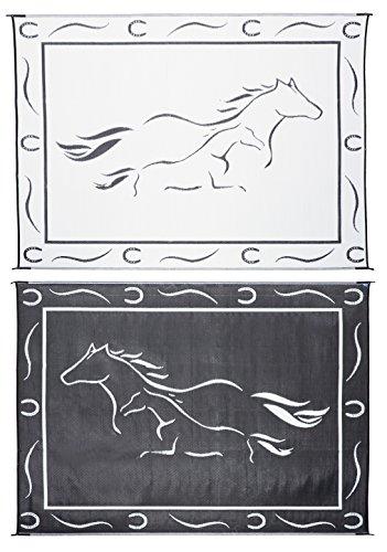 Horse Mat (Stylish Camping GH8111 Black/White 8'x11' Galloping Horses)