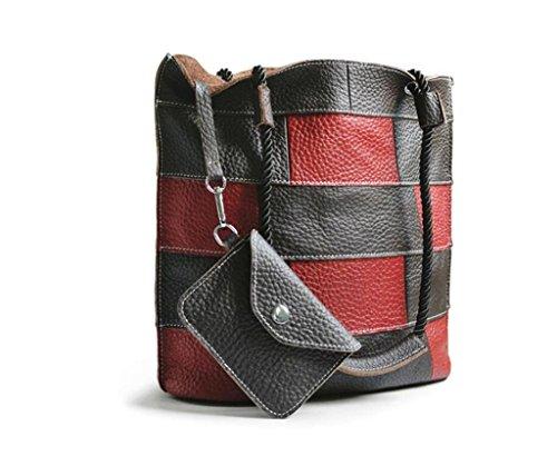 SHFANG Señoras Ocio bolso de cubo simple / bolso de cuero / bolso de hombro, bolso de mensajero, compras / viaje / trabajo , horizontal lines horizontal lines