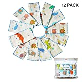 Muslin Baby Washcloths Set(12-Pack),Natural 4-Layer Cotton Infant Bath Towel with Cartoon Design,Soft Toddler Face Towel Gift Registry Newborn Baby Shower,9x9 Inches,Animal World