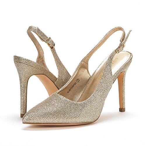 Paio Di Scarpe Da Donna Scarpe A Tacco Alto A Punta Sottile Con Glitter Oro
