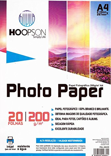 Papel Fotográfico Brilhante A4 200g 20 fls Resistente a água