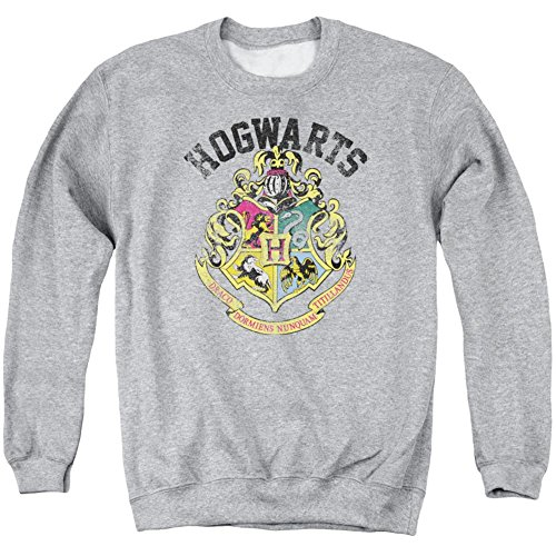 Crewneck Sweatshirt: Harry Potter- Hogwarts Distressed Crest Size L