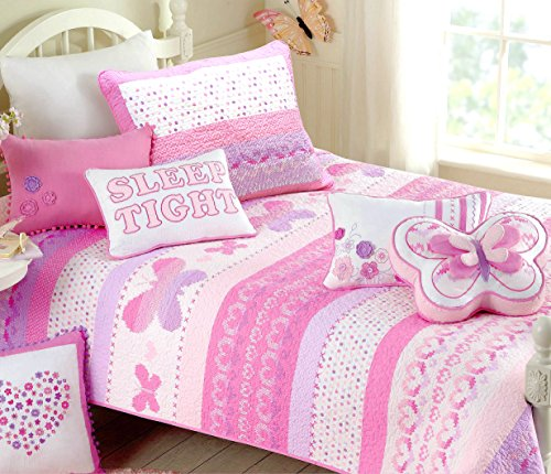 Cozy Line Home Fashions Butterfly Bedding Quilt Set, 3D Print Pattern Pink Orchid Light Purple Heart Dot 100 % COTTON Bedspread Coverlet for Kids Girl NEW Arrival(Butterfly Knit, Full/Queen - 3 piece) Dot Cotton Quilt