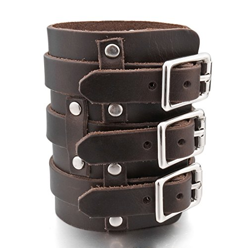 INBLUE Men's Alloy Genuine Leather Bracelet Bangle Cuff Silver Tone Brown Black Adjustable by INBLUE (Image #4)