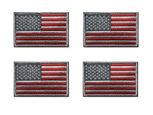 Tactical USA Flag Patch -Subdued Silver-American Flag Embroidered Red Border US United States of America Military Uniform Emblem Patches-2 pieces …