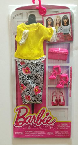 (Barbie Complete Fashion Spring is Here Outfit ,Yellow Blouse with White Lace-like Trim and Black and White Skirt with Pink Spring Flowers ,Pink Strapped Stilletto Shoes and Matching Envelope Purse)