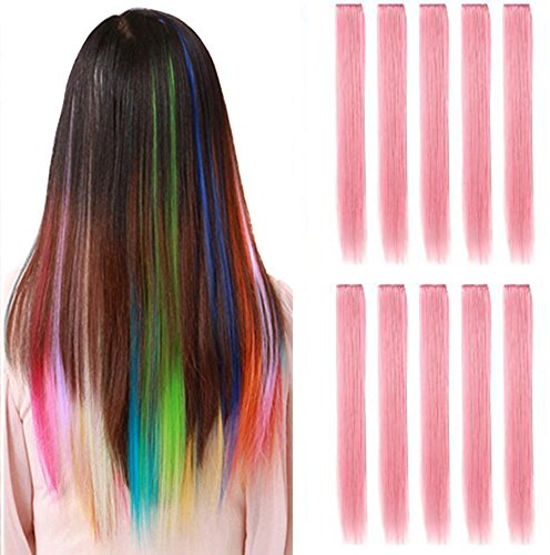 OPT. 10 Pieces of 22 Inches Straight Colored Party Highlight Clip on in Hair Extensions Multiple Colors. From New York. (Light Pink) ()