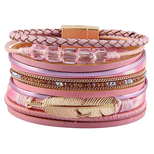 - RONLLNA Tree of Life Leather Cuff Bracelet Wrap Bangle Boho Bracelets with Pearl for Women Teen Girl Boy Gifts (Brown Cuff Bracelet) (Pink Crystals)