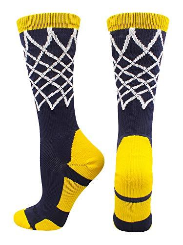 online store 7cda8 afe11 Crew Length Elite Basketball Socks with Net (Navy Gold, Large)
