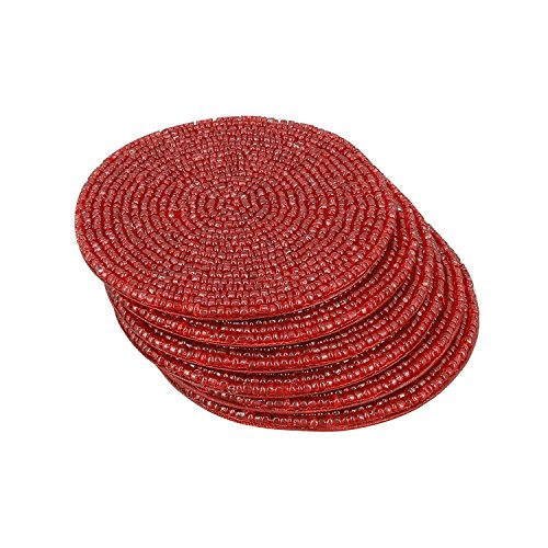 (Handmade Indian Red Beaded Tea Coasters - 4 Inch Placemats for Teacups - Set of 6 Cup Coasters)