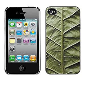 LECELL--Funda protectora / Cubierta / Piel For Apple iPhone 4 / 4S -- Green Leaf Nature Biology Vignette --