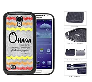 Ohana Means Family Red Color Tone Waves Samsung Galaxy S4 I9500 2-piece Dual Layer High Impact Black Silicone Cover