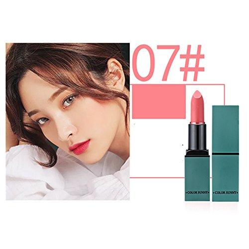 Velvet Matte lipstick Makeup Long Lasting 3.5g/0.12oz (Green tube 07#) - Pink 3.5g/0.12oz Makeup
