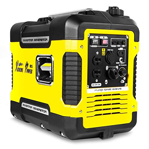 XtremepowerUS 2000-Watt Digital Inverter Powered Generator Gasoline Super Quiet Emergency Camping Tailgating (2) USB Outlet Port (CARB EPA)