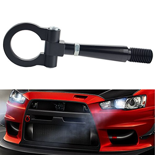 Evo Rear Bumper (Dewhel JDM Folding Screw On Racing T2 Tow Hooks Front Rear For Mitsubishi LANCER EVO X 10 MR 08-2014 (Black))