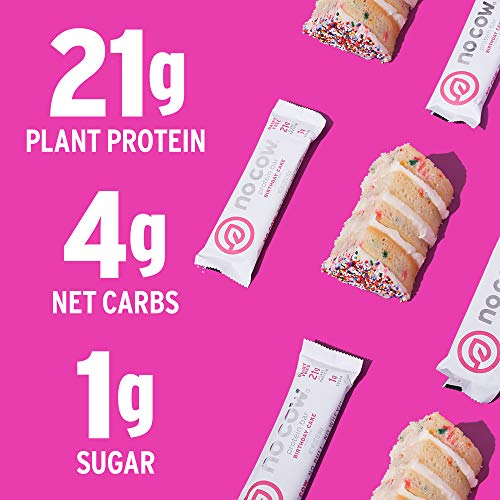No Cow Protein Bars, Birthday Cake, 20g Plant Based Vegan Protein, Keto Friendly, Low Sugar, Low Carb, Low Calorie, Gluten Free, Naturally Sweetened, Dairy Free, Non GMO, Kosher, 12 Pack