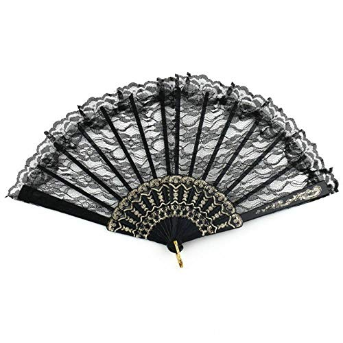 (Agordo Black Wedding Folding Lace Hand Fan Fancy Dress Costume Party Chinese Vintage)
