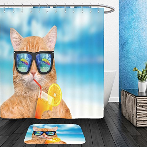 Vanfan Bathroom 2 Suits 1 Shower Curtains & 1 Floor Mats cat wearing sunglasses relaxing in the sea background 381684706 From Bath - Wearing David Beckham Glasses