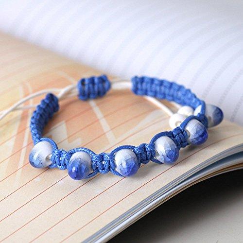 Winter's Secret Handmade Weave Classic Blue Color Crack Beaded Adjustable Wrap (Osu Halloween Party)