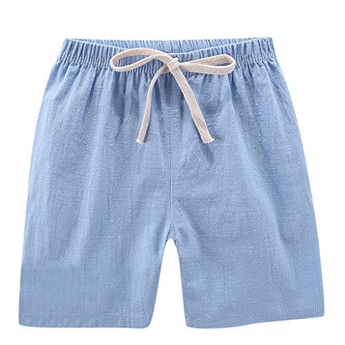 TIFENNY Summer Children Kids Shorts Boy Girl Linen Casual Shorts Drawstring Elastic Waist Pants Clothes Loose Sweatpants Light Blue