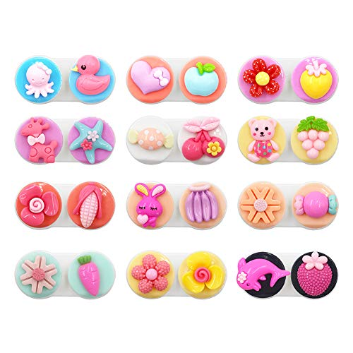 12 Pack Cute Colourful Contact Lens Case Favorite Box Holder Container Travel Portable Soak Storage Kit Spare Fun Cartoon Flower Crown Animal Fruit Love Vegetable Dolphin Rabbit Candy (12 Cartoon)