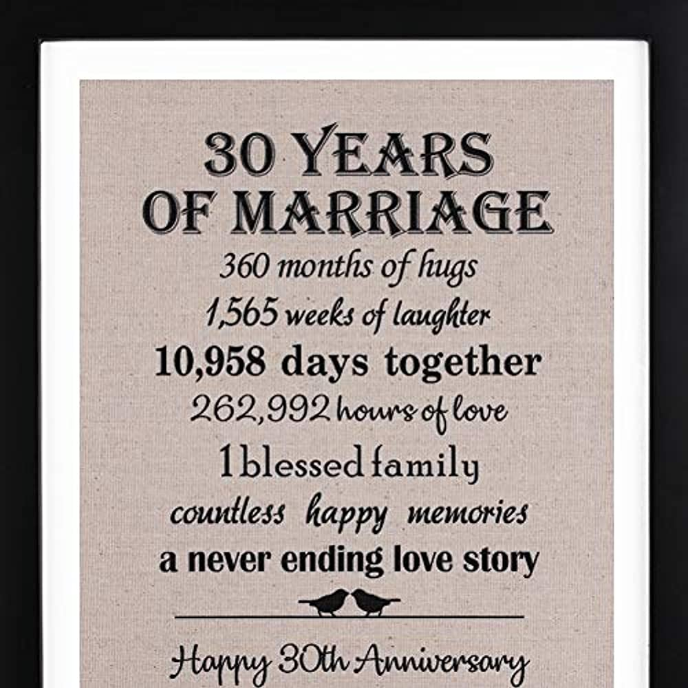 Details About 30th Anniversary Love Birds Burlap Print Frame Wedding Gift Her Year Gifts