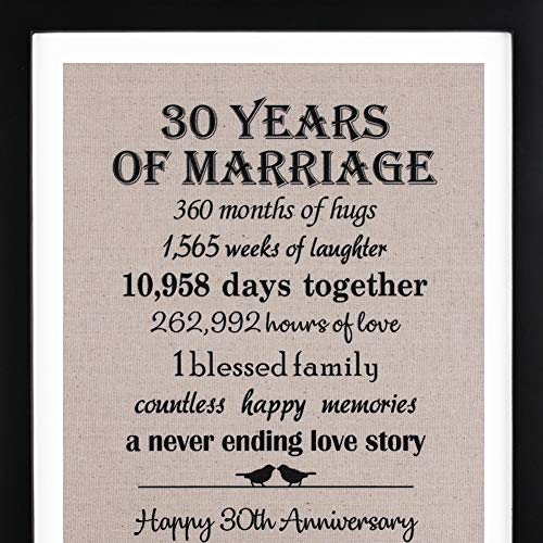 30th Anniversary Love Birds Burlap Print with Frame, 30th Wedding Anniversary Gift For Her, 30 Year Wedding Anniversary Gifts for Couple ()