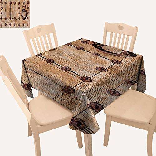 Angoueleven Rustic Table Cover Spanish Entrance of Rusty Medieval Style Handlers Archway Facade Historical Image Small Square Tablecloth Pale Brown W 36