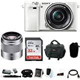 Sony Alpha a6000 24.3 Megapixel Mirrorless Digital Camera with Sony 50mm Lens and SanDisk 32GB SDHC Accessory Bundle (White)