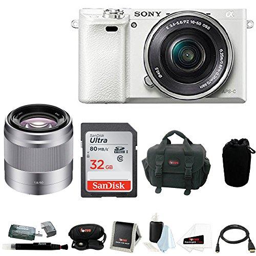 Sony Megapixel Mirrorless Digital Camera w/ 50mm Lens & 32GB SD Accessory Bundle